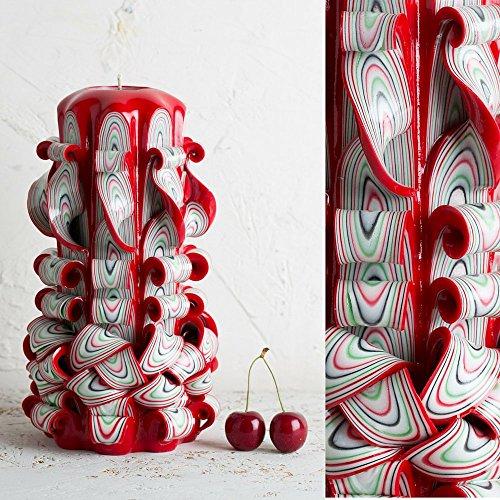 Vela Decorativa – Colores de Amor Apasionado Rojo y Banco - Para Mujeres Esposa Novia - EveCandles