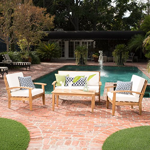 GDF Studio Preston 4 Piece Wood Outdoor Patio Seating Chat Set w/Beige Cushions