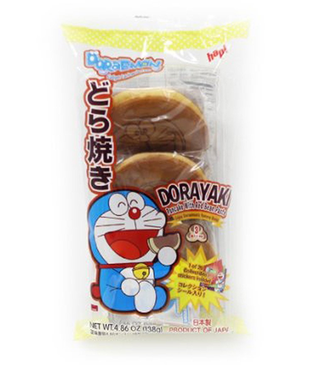 Japanese Hapi Doraemon Dorayaki Pancake With Red Bean Paste 4 86oz 1 Pack Grocery Gourmet Food