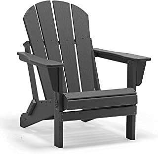 POLYDUN Folding Adirondack Chair, HDPE Outdoor Weather Resistant Plastic Lounge Beach Chairs for Pool Patio Deck Garden, B...