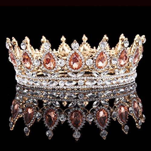 HerZii, corona da principessa con strass, tiara per matrimoni e feste Champagne + oro