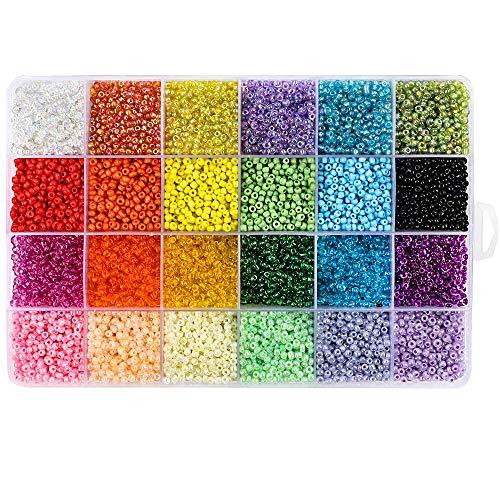 Outuxed 12000 Stück Mini Glasperlen 3mm 24 Farben Lose Perlen Distanzperlen mit 24-Gitter Aufbewahrungsbox für Schmuckherstellung