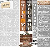 HALLOOKI Letter Stencils for Painting on Wood, 38 PCs Large Alphabet and Number Stencils, Welcome Sign, Calligraphy Upper Lowercase Reusable Art Craft Templates for Fabric Wall Chalkboard