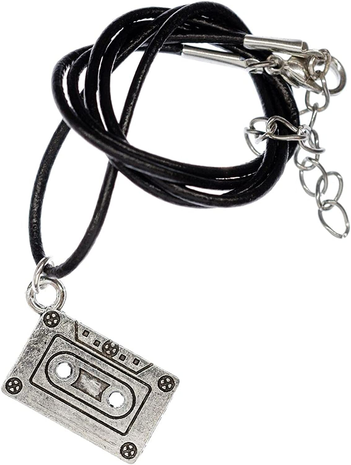 Miniblings Cassette Necklace Tape Record DJ Singer Music - Handmade Fashion Jewelry - Leather