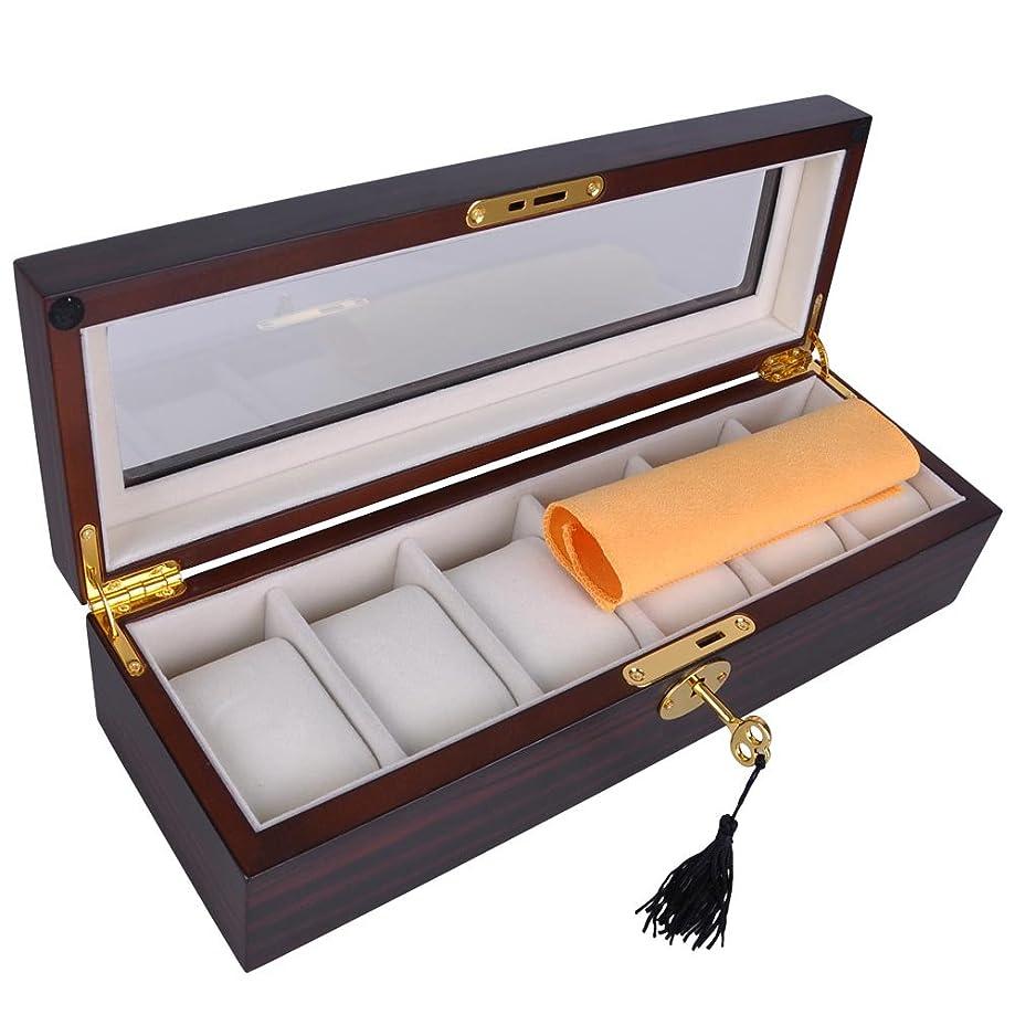Yescom 6 Slots Ebony Wood Watch Display Case Glass Top Jewelry Collection Storage Box Organizer Men/Women Gift