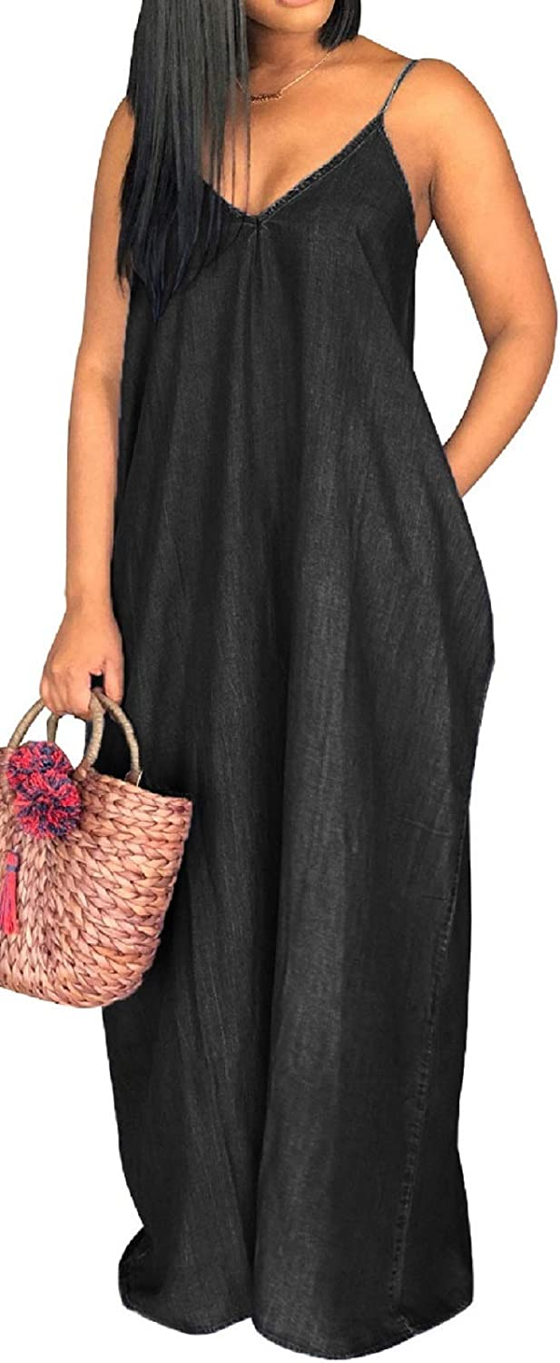 Women's Sexy Maxi Long Dresses Casual Spaghetti Strap Striped Floor Length Plus Size Long Sundress with Pockets