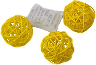 Ougual Set of 6 Wicker Rattan Balls Table Wedding Party Christmas Decoration (Diameter 8cm, Yellow)