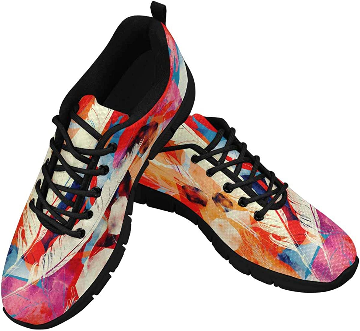 INTERESTPRINT Moon, Feathers, Flowers and Jewels Women's Running Shoes Mesh Breathable Sports Casual Shoes