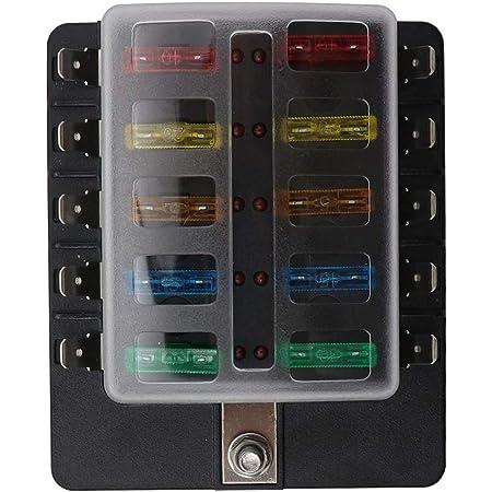 kkmoon 10 fach sicherungshalter klingenhalter auto sicherungskasten kfz fuse  box mit led warnung beleuchtungssatz für auto boot marine trike 12v 24v:  amazon.de: auto  amazon.de