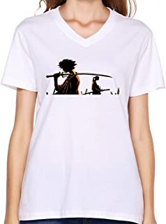 A-UFO Women's Samurai Champloo Mugen Poster L White V-neck T Shirt Printing