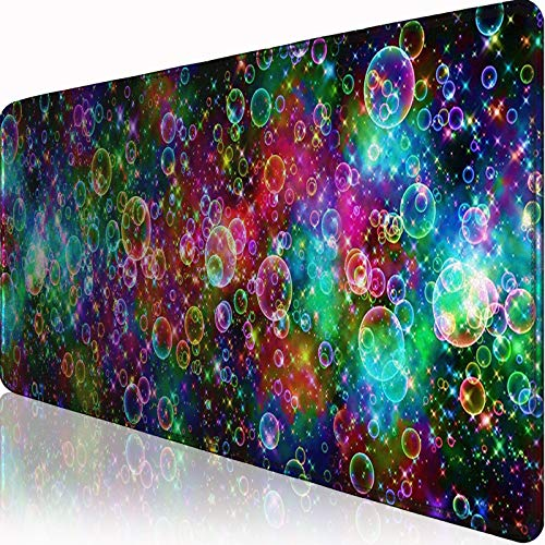 MAKIEE Extended Gaming Mouse Pad with Stitched Edges,Colorful Bubbles Design Printed Mouse Mat(31.5x11.8x0.1inch) Comfortable Large Mousepad for Work & Gaming, Office & Home