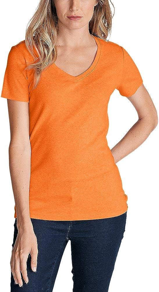 Eddie Bauer Women's Favorite Short-Sleeve V-Neck T-Shirt, HTR Orange