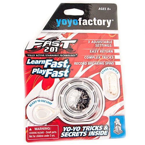 YoyoFactory FAST 201 Yo-Yo - SCHWARZ (Ideal für Anfänger, Moderne Leistung YoYo, Metall Kugellager, Freistil Yoyoing Tricks, Schnur und Anleitung Enthalten)