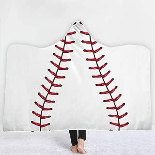 Irisbell Hooded Blanket Throw Wrap Baseball Softball Soccer Wearable Blanket Sherpa Poncho Cloak Hooded 60''H x 80''W (Baseball, 80'' x 60'')
