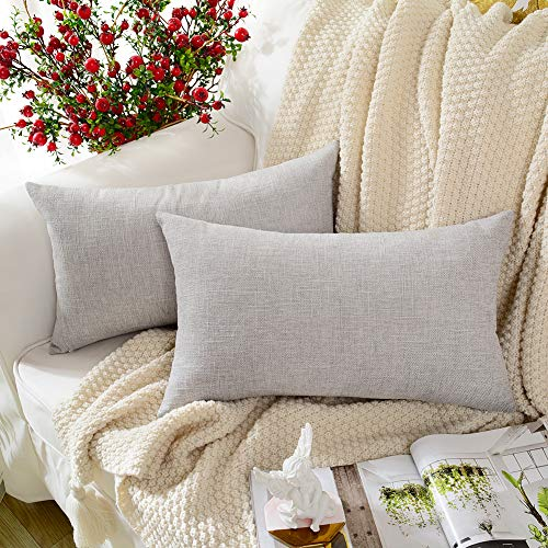 MERNETTE Linen Decorative Rectangle Throw Pillow Cover