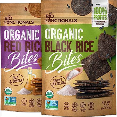 Rice Crackers Organic Gluten Free Crackers, red & black rice cake chips, variety pack, savory rice crisps snacks, crispy thins baked with only 3 ingredients, Pack of 2 x 5oz.