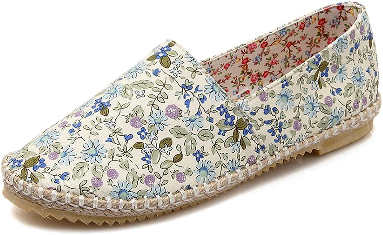 Lucksender Womens Floral Flat Loafer shoes