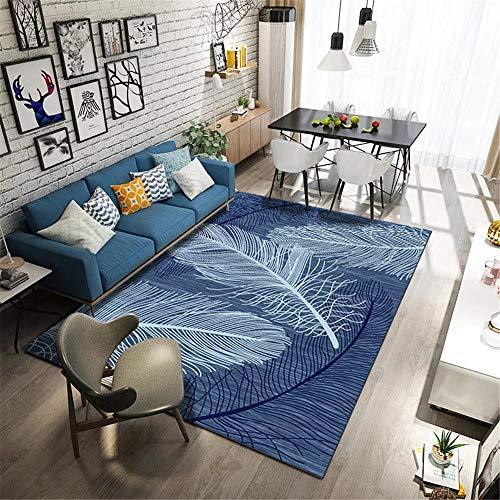 Alfombra Lavable,Alfombra Azul, patrón de Plumas fácil de Limpiar Anti-ácaro Polvo Suave Alfombra ,Alfombra Salon Grande -Azul_80x200cm
