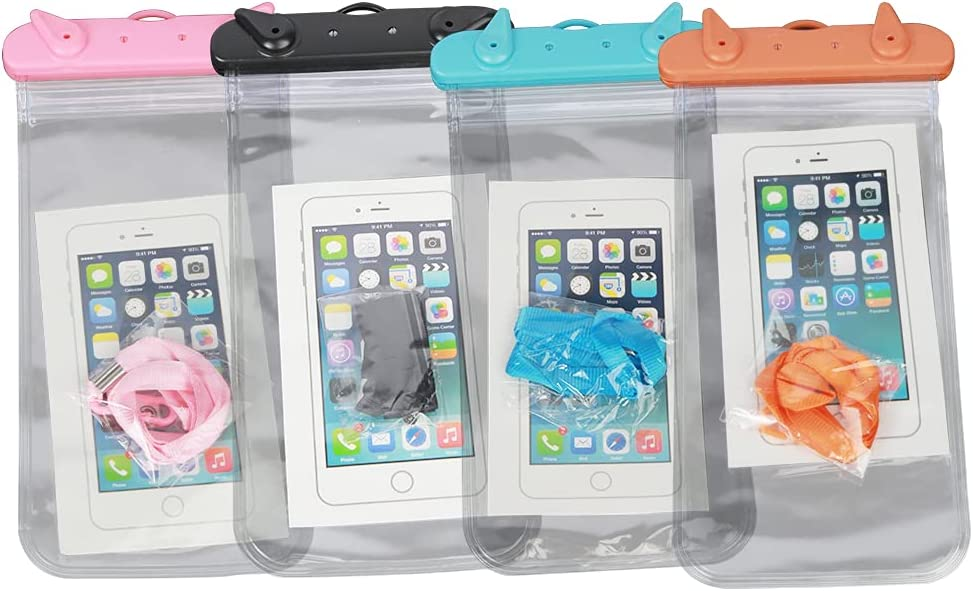 Waterproof Phone Pouch Floating, Universal Waterproof Phone Case/Bag Floating, Clear Underwater Cell Phone Dry Bag, for iPhone, Samsung Galaxy, LG, Moto, Pixel, Phones up to 6.9''– 4 Pack
