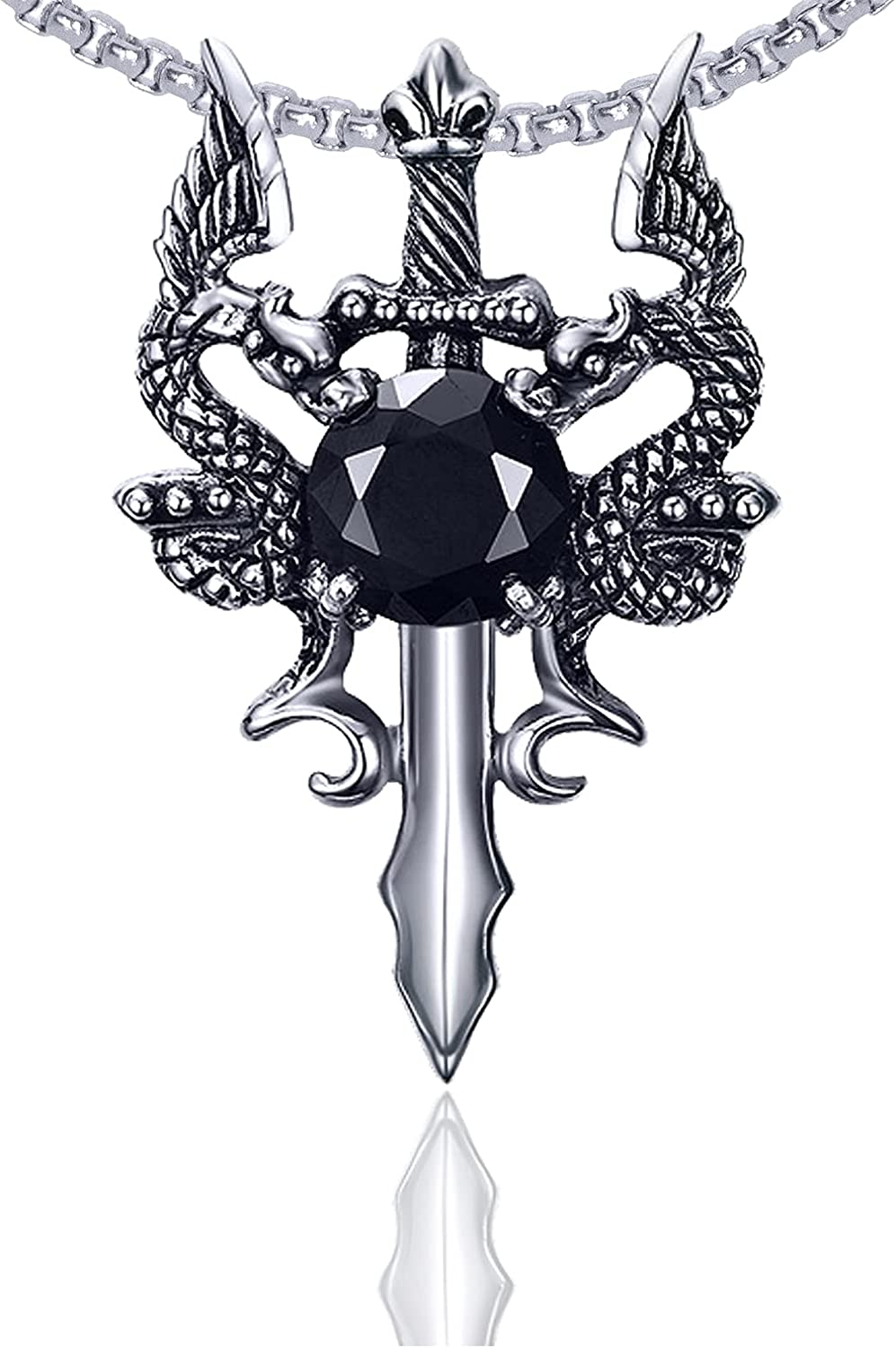 Xusamss Punk Titanium Steel Wing Dragon Crystal Pendant Sword Necklace,24inches Link Chain