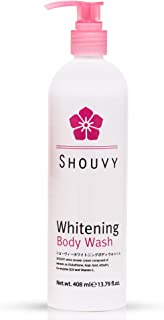 Whitening Body Wash Shower Scrub | Hyaluronic Acid, Vitamin C Skin Lightening Treatment | Anti-Aging Face Bath Cream with Glutathione, Kojic Acids for Spot, Freckle, Scar Reduction - 13.79 fl.oz.