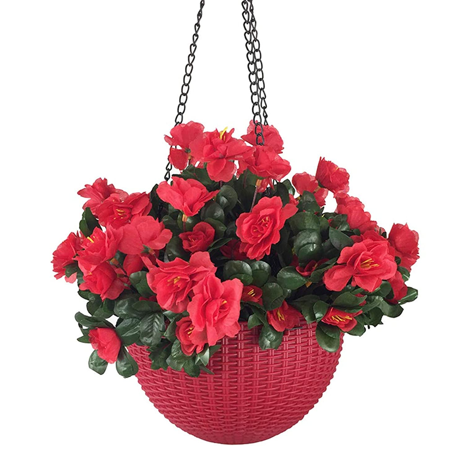 Lopkey Artificial Red Azalea Bush Flower Hanging Planter Resin Chain Hanging Basket for Indoor Outdoor Garden Porch Decor
