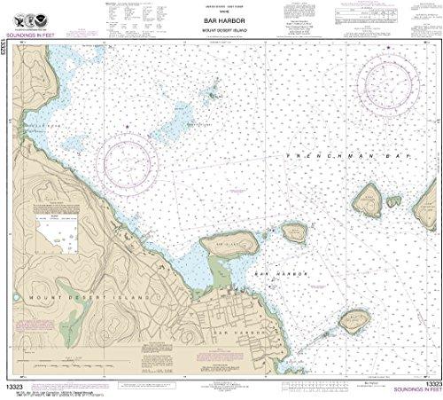 NOAA Chart 13323 Bar Harbor Mount Desert Island: 25.85' X 28.69' Laminated Map