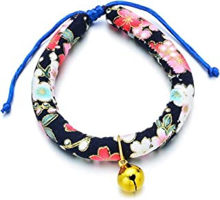 Accesyes Yellow Bell Japanese Chirimen Kimono Print Soft Cat Collar Tie for Kitten Puppy Pet Supply, 1 Size Fits All and A...