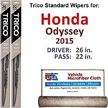 Wiper Blades for 2015 Honda Odyssey Driver & Passenger Trico Steel Wipers Set of 2 Bundled with Bonus MicroFiber Interior Car Cloth