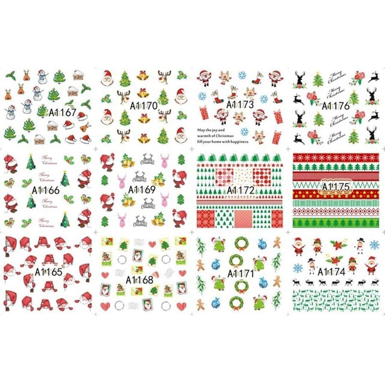 リッチ謎メンター12枚美容ハロウィンクリスマス水転写ネイルアートステッカーデカールネイルデコレーションマニキュアツールパンプキンスカルデザイン,8