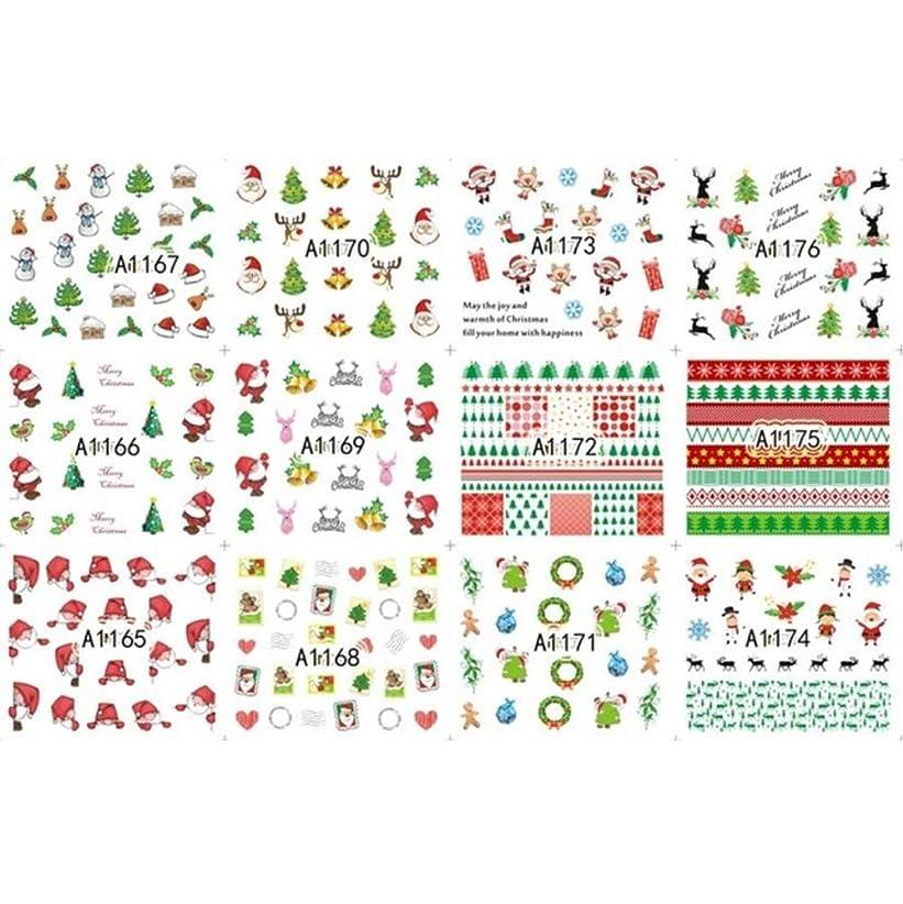 コック公園倫理的12枚美容ハロウィンクリスマス水転写ネイルアートステッカーデカールネイルデコレーションマニキュアツールパンプキンスカルデザイン,8