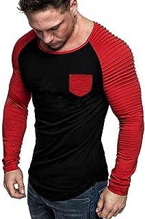SANFASHION Mens Long Sleeve T Shirts Autumn Winter Spring Round Neck Classic Casual Coton Blend Funky Unique Elastic Sport...