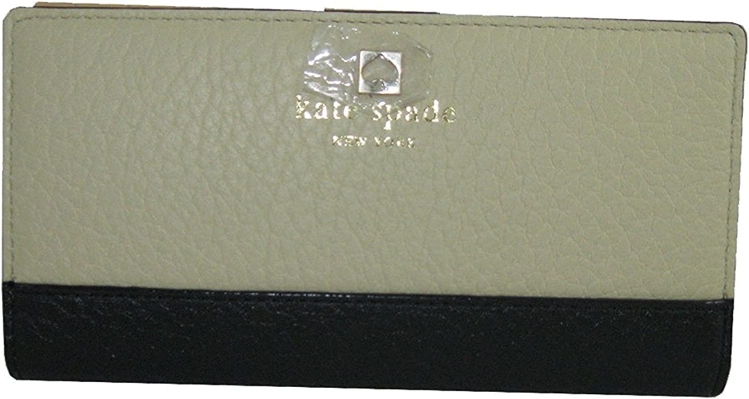 Kate Spade New York Southport Avenue Stacy Wallet in Buttermilk & Black Leather