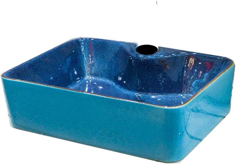 WINZSC Mediterrane Retro-Keramik-Waschbecken Kunst über Waschbecken Waschbecken Waschbecken Waschbecken kontinentales Haus LO6201038 (Farbe   Only Sink)