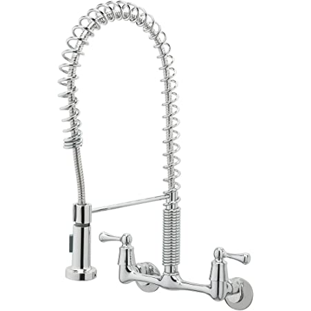 TOSCA 255-K820-T 2-Handle Wall-Mount Pull-Down Sprayer Kitchen Faucet