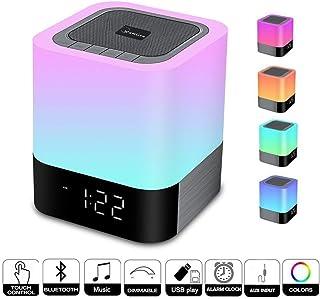 Altavoz Bluetooth Control Toque Lámpara de Noche con Wireless, Luz Nocturna LLuminación Infantil Portátil LED Inteligente Toca Sensor Multicolor, Reloj Despertador, Reproductor de MP3, Manos Libres