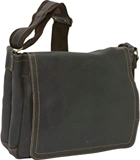 David King Distressed North/South Leather Messenger Bag in Distressed Black