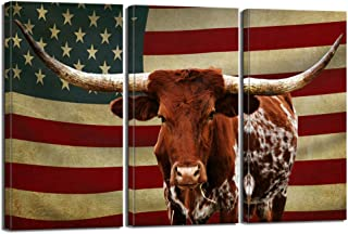 LevvArts - 3 Piece Painting Canvas Prints Texas Longhorn with American USA Flag Wall Art Farm Animal Cattle Picture Print on Canvas Artwork for Farmhouse Living Room Wall Decor Ready to Hang