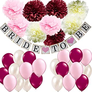 wonderfulshop Bridal Shower Decorations Kit- Bride To Be Banner Burgundy Pink Cream White Tissue Flowers Pompom Balloons Set for Bachelorette Party Bridal Shower Supplies Wedding Party Decorations