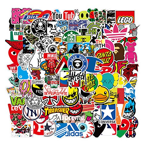 Cool Brand Stickers 100 Pack Decals Laptop Computer Skateboard Helmet Laptop Bicycle Hypebeast Bomb Sticker