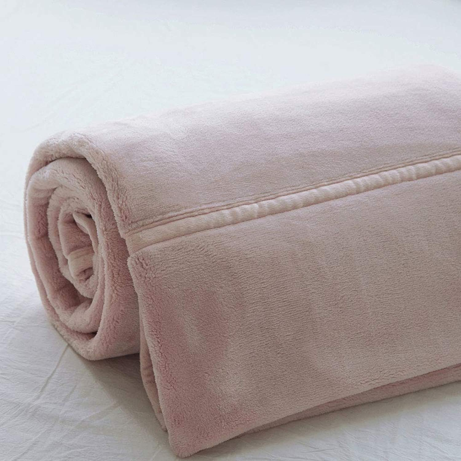 Autumn Winter Models Thickened Velvet blanket Single Simple Warm Solid color Double-Sided Coral Velvet Double Sofa blanket (color   Pink, Size   55.12  78.74)