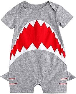 Babywow Awesome Unisex Infant Baby Boys Girls Shark Romper Short Sleeve  Bodysuit Jumpsuit Onesie 5747fc638