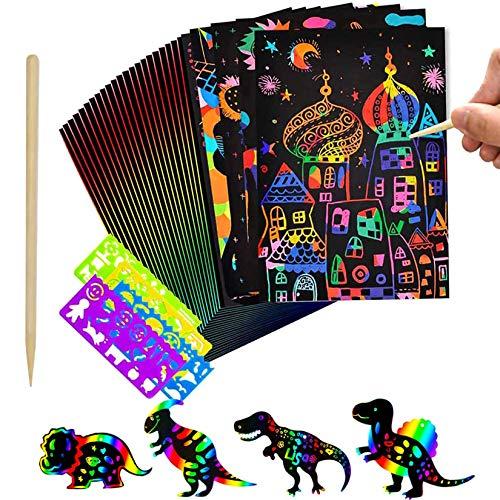 Funmo Kratzbilder Bastelset für Kinder, Regenbogen Kratzpapier, Rainbow Scratch Art Papier, DIY Kunst Zeichnung Malerei Werkzeug Set (30 Blätter+1 Holzstifte+4 Schablonenlineale)