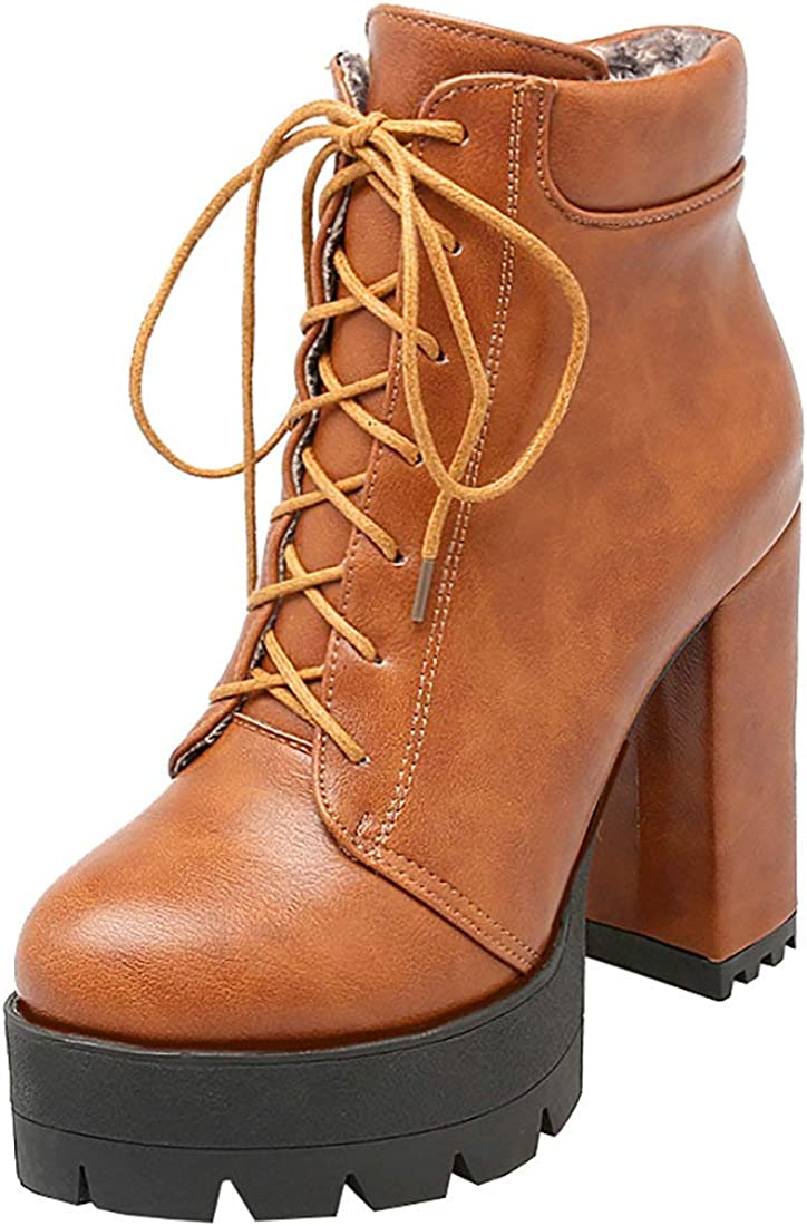 LUXMAX security Womens Lace Up Combat Boots High Arlington Mall Platform Chunky Heel Ank