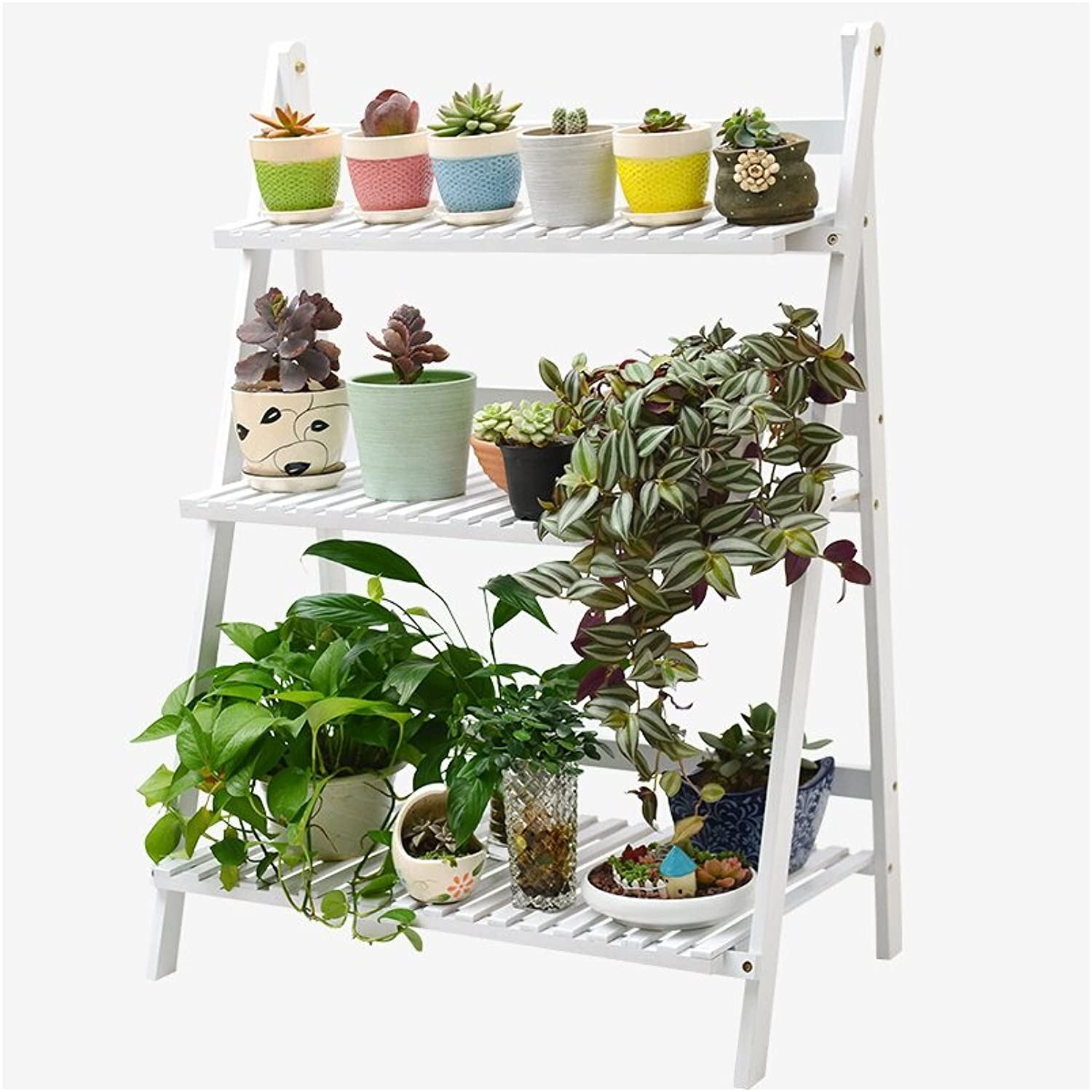 WAN SAN QIAN- Bamboo Rattan Floor Stand 3 Tier Creative Hanging Bamboo Living Room Folding Flower RackBalcony Living Room Flower Shelf 70x96cm Flower racks ( color   White )
