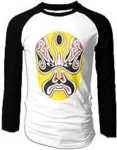 Creamfly Mens Chinese Peking Opera Cool Long Sleeve Raglan Baseball Tshirt