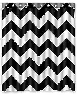 KXMDXA Custom Black White Stripe Zigzag Stripe Pattern Shower Curtain Waterproof Polyester Bathroom 60 x 72 inch