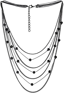 Grey Black Waterfall Multi-Strand Long Chain Statement Necklace Black Crystal Beads Pendant