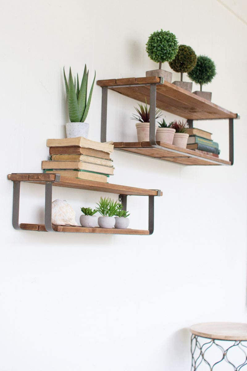 Kalalou Max 61% OFF Set of Double Recycled and Wood Shelves Denver Mall Metal