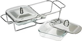 Premier Housewares - Calientaplatos Cuadrado Doble (Acero Inoxidable, Incluye Platos de Cristal y Tapas, 1 l)